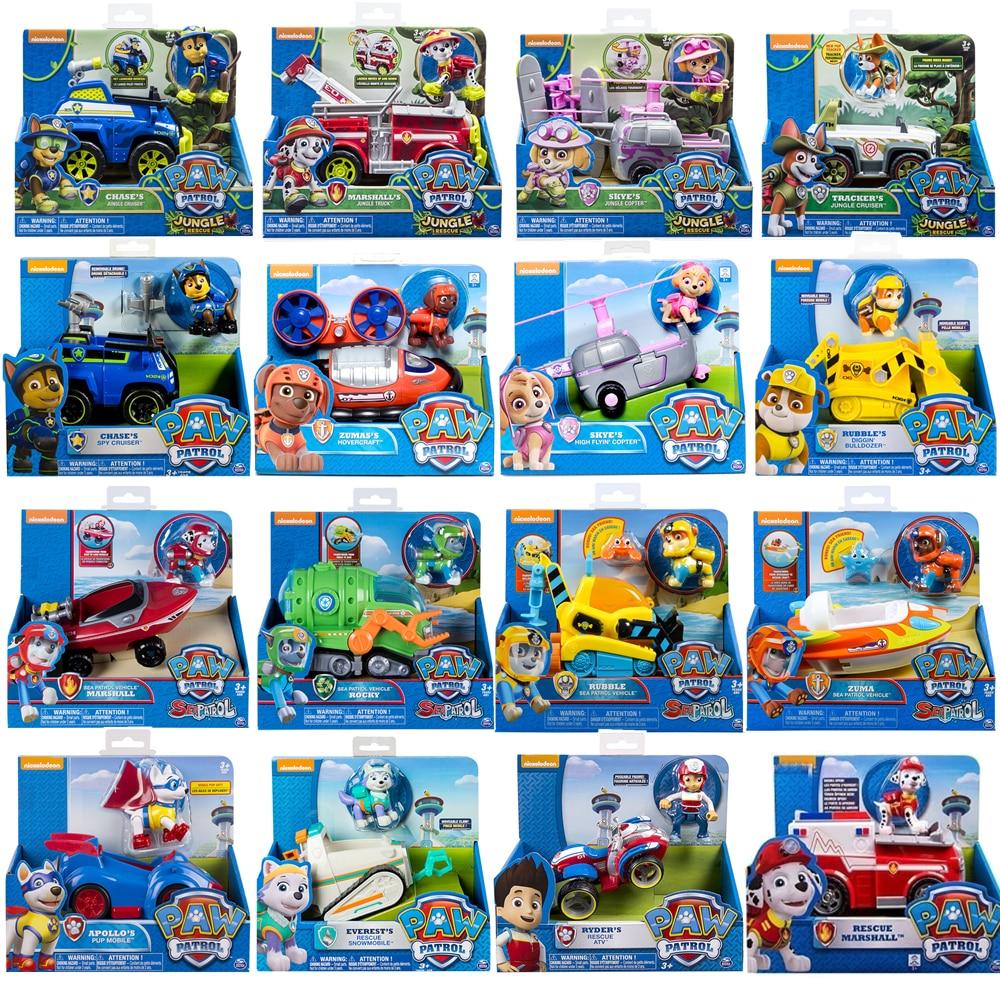 Paw Patrol Birthday Toy Set Anime Apollo Everest Tracker Puppy Rescue Vehicle Action Figure Model car Kids gif