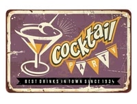 cocktail tin signparty glass drinks alcohol bar classic best drinks in town purple vintage metal tin signs for cafes bars pubs