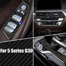 528li 530li 540li Accessoires Voor Bmw 5 Serie G30 Koolstofvezel Venster Armsteun Panel Stuurwiel Gear Panel Sticker
