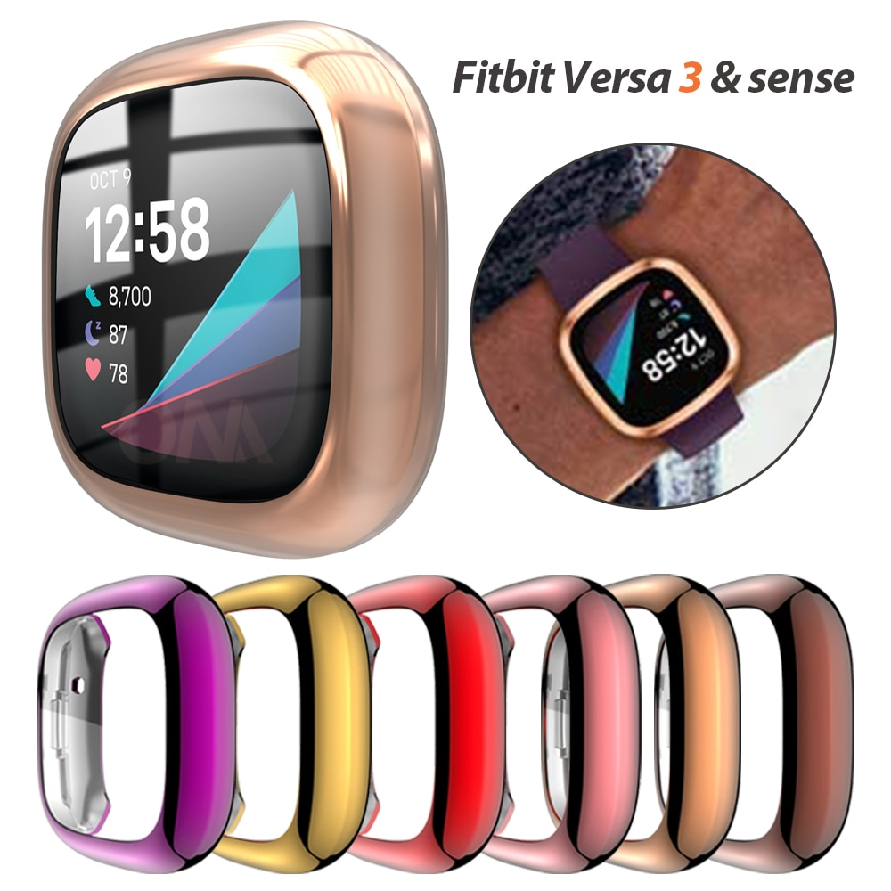 Screen Protector Case for Fitbit Versa 3 & Sense Ultra Slim Soft TPU Watch Cover for Fitbit Versa 3 Protective Bumper Shell