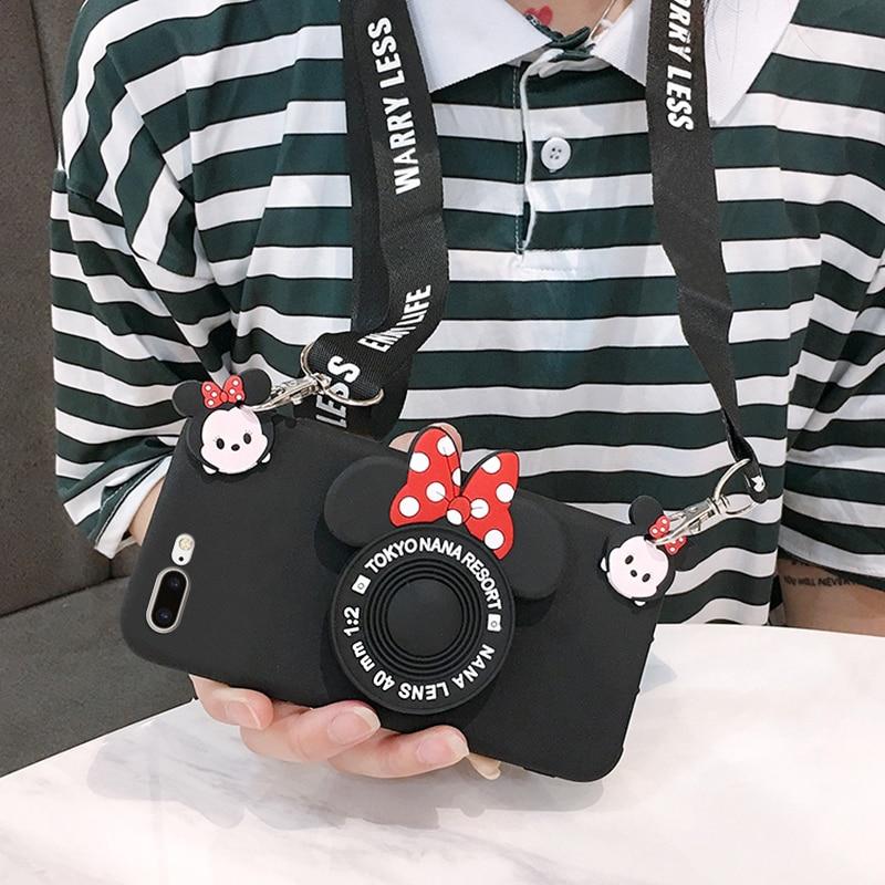 For Xiaomi redmi NOTE 5 6 7 8 Pro Case 3D Cartoon Cute Minnie Camera Lanyard Bracket Soft Phone Case For redmi 6 7 8 7A 6A K20