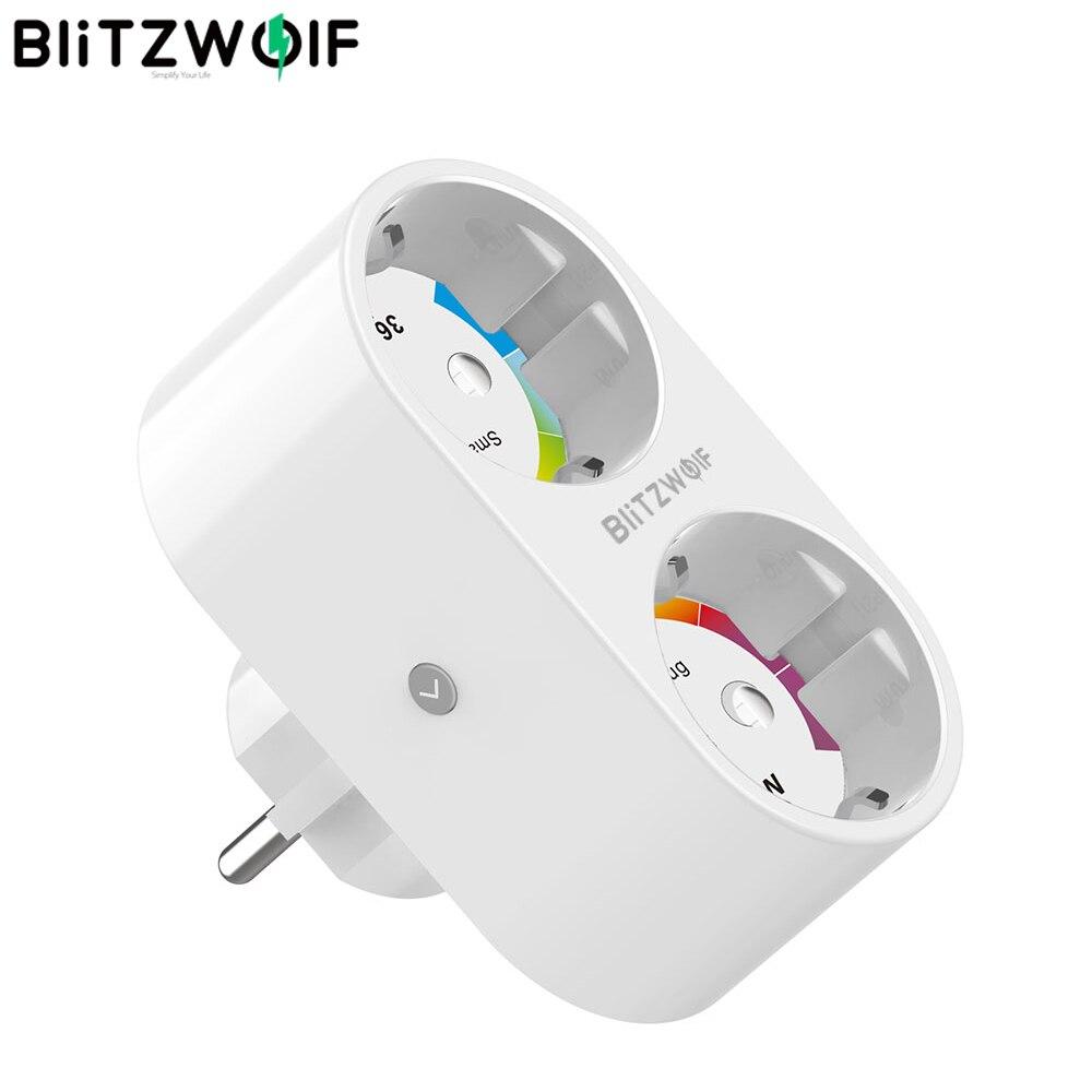 BlitzWolf BW-SHP7 3680W 16A Dual Outlet EU Plug Smart WIFI Socket APP Remote Control Work With Google Assistant / Amazon Alexa
