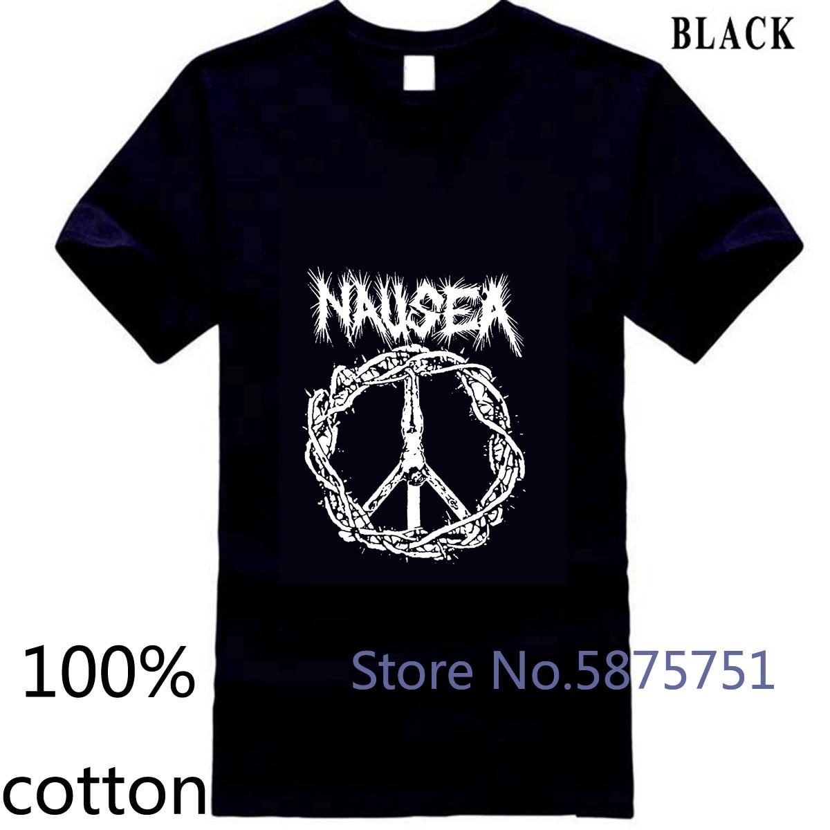 Nausea NYC Crust Punk Band icónico Jesus on A Cross Logo negro hombre Camiseta camiseta tops camisetas 100% algodón Hombre