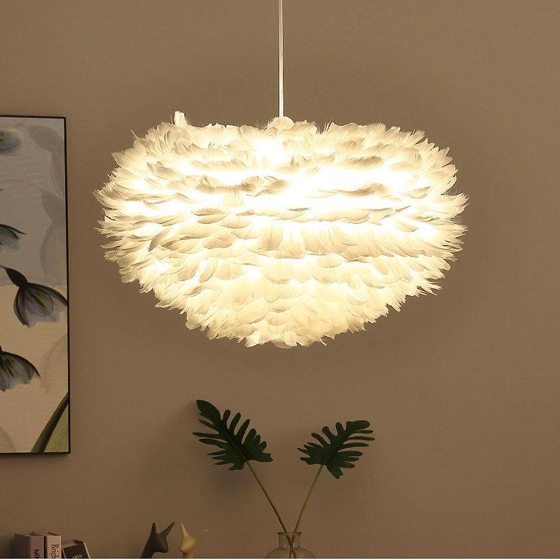 قلادة على هيئة ريشة مصباح لغرفة المعيشة غرفة نوم فتاة غرفة المطبخ جزيرة قلادة أضواء منتصف القرن ديكور فني بريق الأميرة