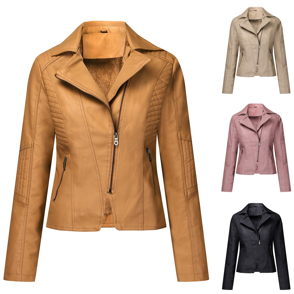 New women's suede leather jacket with diagonal zip short women's jacket casual jacket leather blazers women faux fur coat