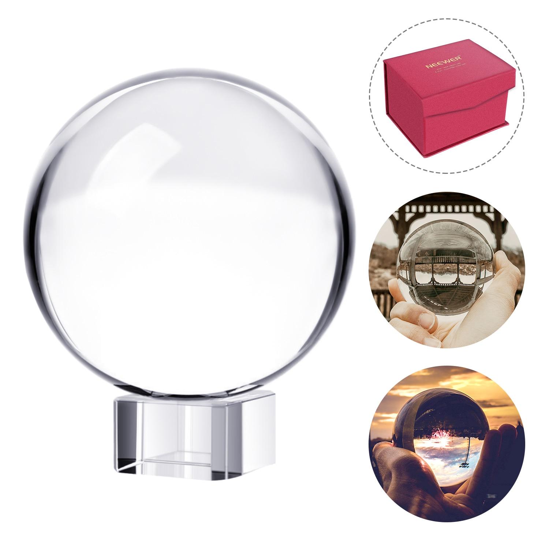 Neewer pro 80mm, k9 bola de cristal com suporte, pano de limpeza, bolsa e caixa, cristal suncatchers bola para fotografia acessório