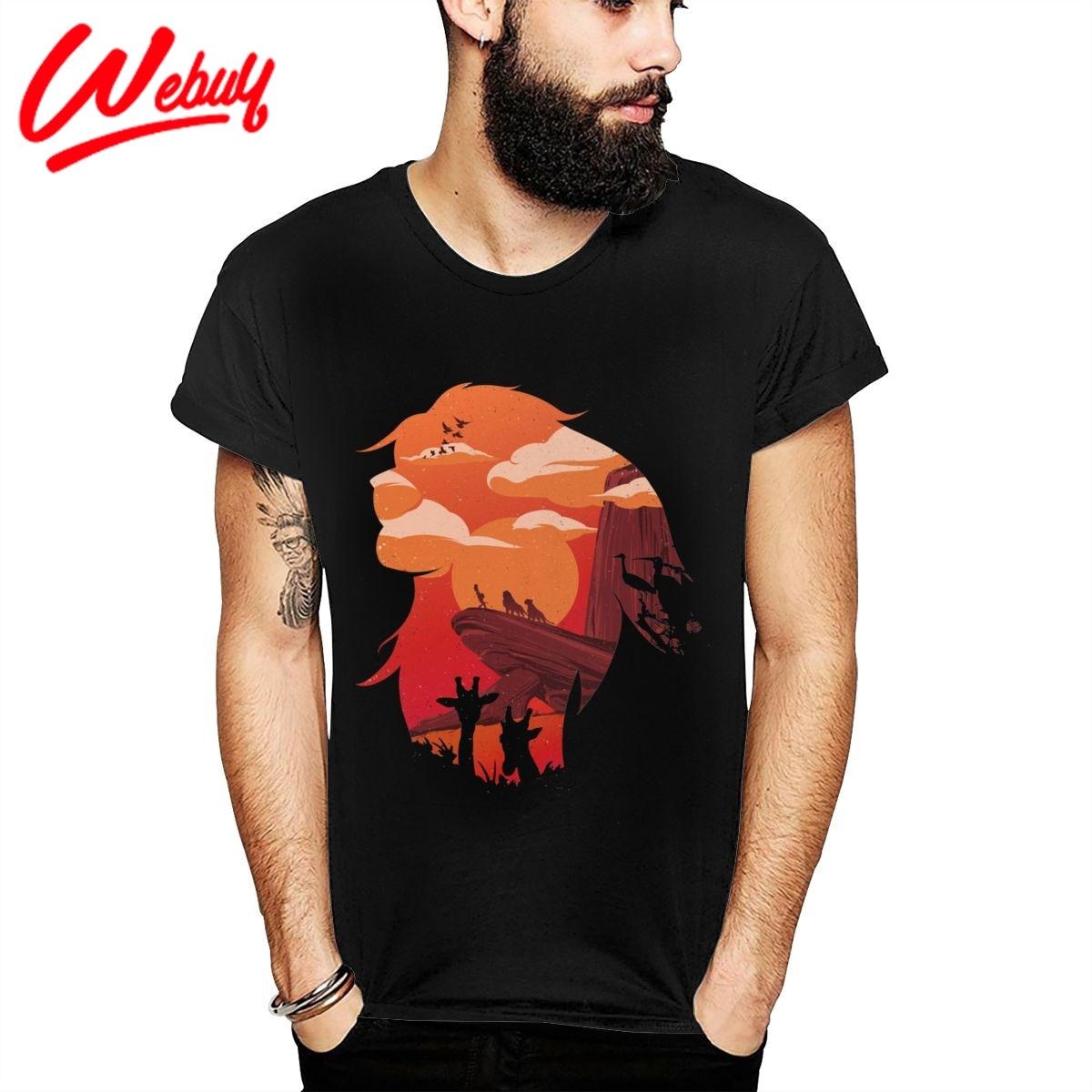 Camiseta de algodón suave a La moda León rey Mufasa círculo de La vida 100% nueva llegada cuello redondo cómodo Camiseta La Camiseta