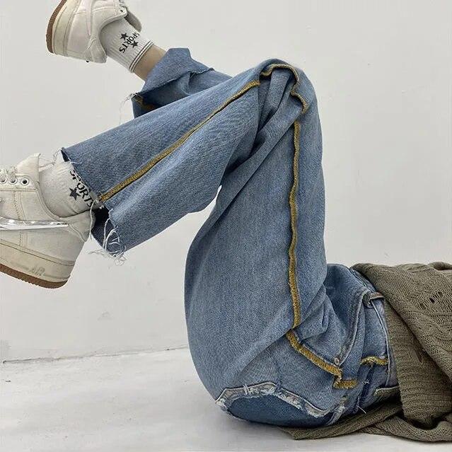 Женские джинсы с завышенной талией, летние прямые свободные брюки-трубы с широкими штанинами, новинка 2021, подвесные брюки, уличная мода