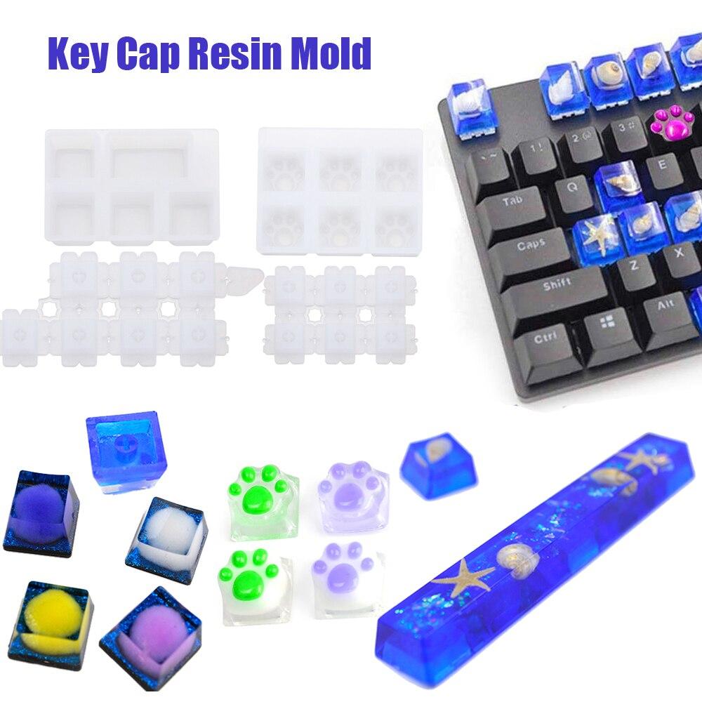Diy teclado mecânico moldes keycap molde de silicone cristal uv resina cola epoxy molde artesanal artesanato fazendo ferramentas