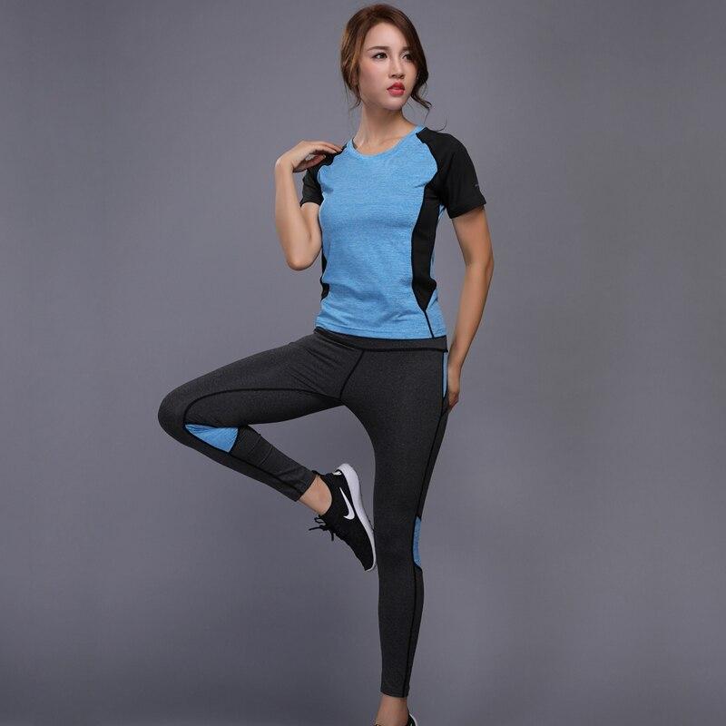 Transpirable secado rápido ropa deportiva gimnasio Leggings Mujer camiseta traje Fitness medias deporte traje correr Yoga conjunto mujer chándal