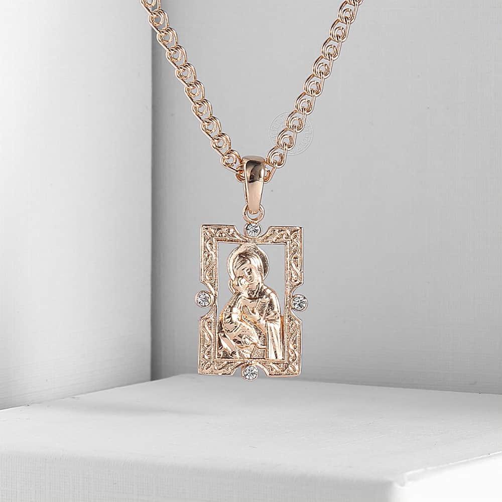 Подвеска Davieslee для женщин и мужчин, ожерелье с кулоном с изображением Богородицы и Иисуса Христа под розовое золото 585 пробы, бижутерия, DGP193