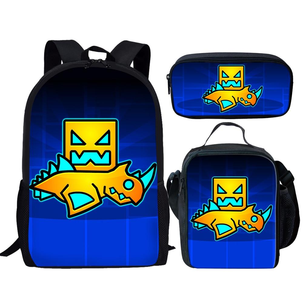 Geometry Dash Printing Cartoon School Bags for Girls Kids Backpack Child Schoolbag Set Children Bookbag for Student