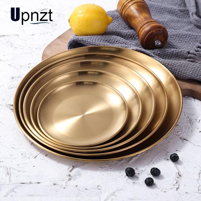 Plato de oro de acero inoxidable, plato redondo para postre, comida occidental, pastel, bandeja de café, barbacoa, accesorios, bandeja de almacenamiento