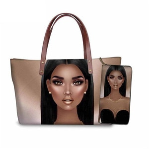 African Hairstyle Prints Afro Girls Tote Bag for Women Bag Set Ladies Handbag Girls Canvas Bag 2021 Free Dropshipping Wholesale