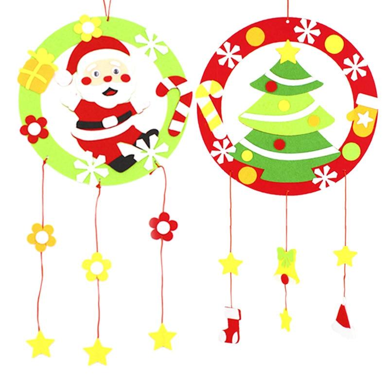 3PCS/Lot DIY Christmas non woven garland Santa claus hanger Xmas tree ornament Snowman Noel Kindergarten handmade crafts