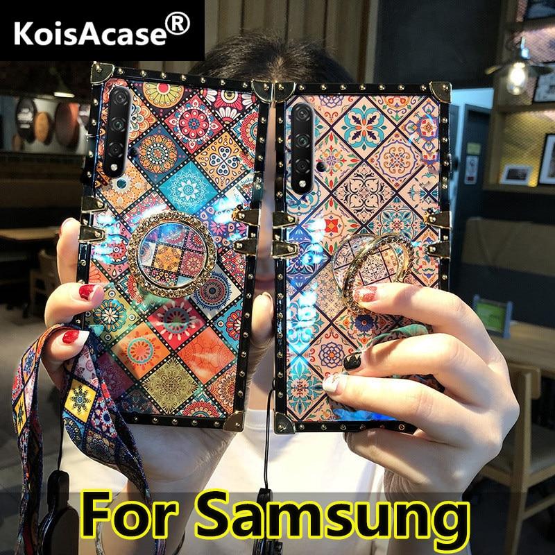 KoisAcase lujo blu ray cuadrado teléfono caso con anillo para Samsung S8 S9 S10 Plus Note 8 9 J4 J6 Plus Prime estilos nacionales cubierta