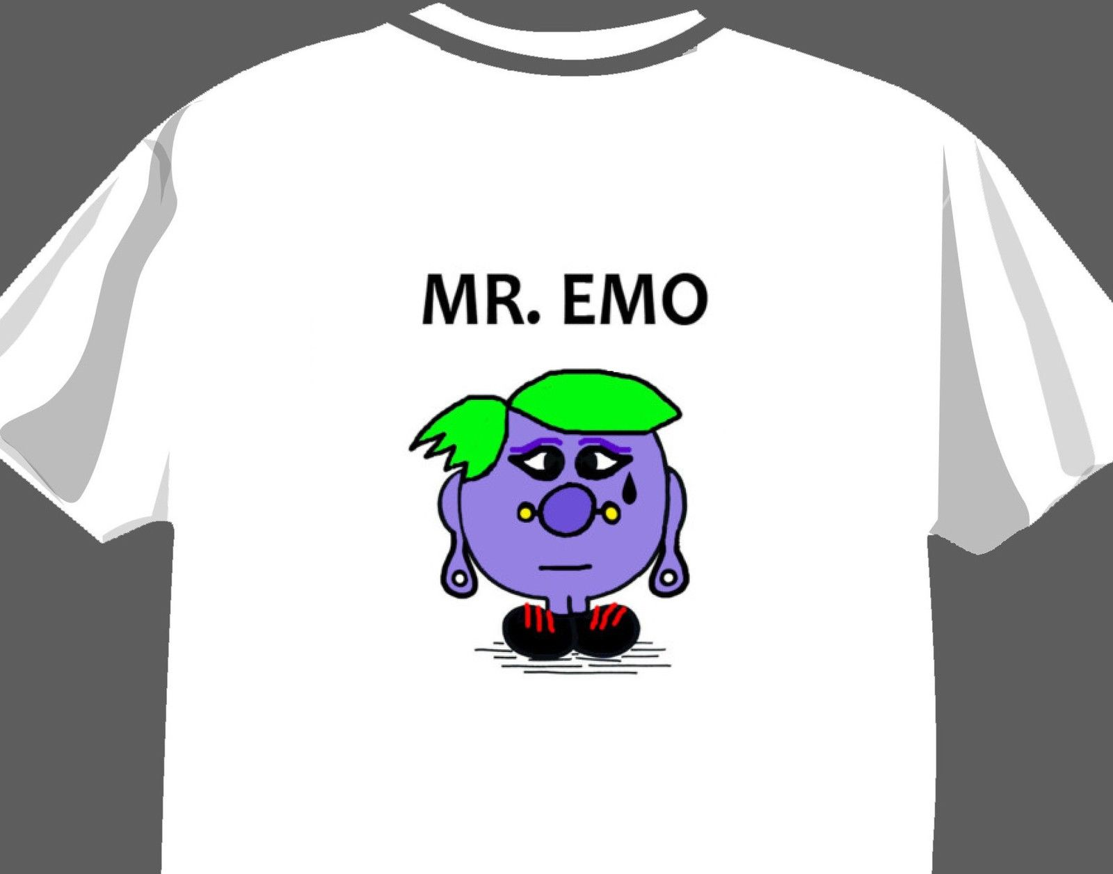 Sr. EMO, camiseta divertida de la parodia de MR Men/Miss. Little, camiseta de adulto, camiseta de dibujos animados, camiseta Unisex para hombres, nueva camiseta de moda