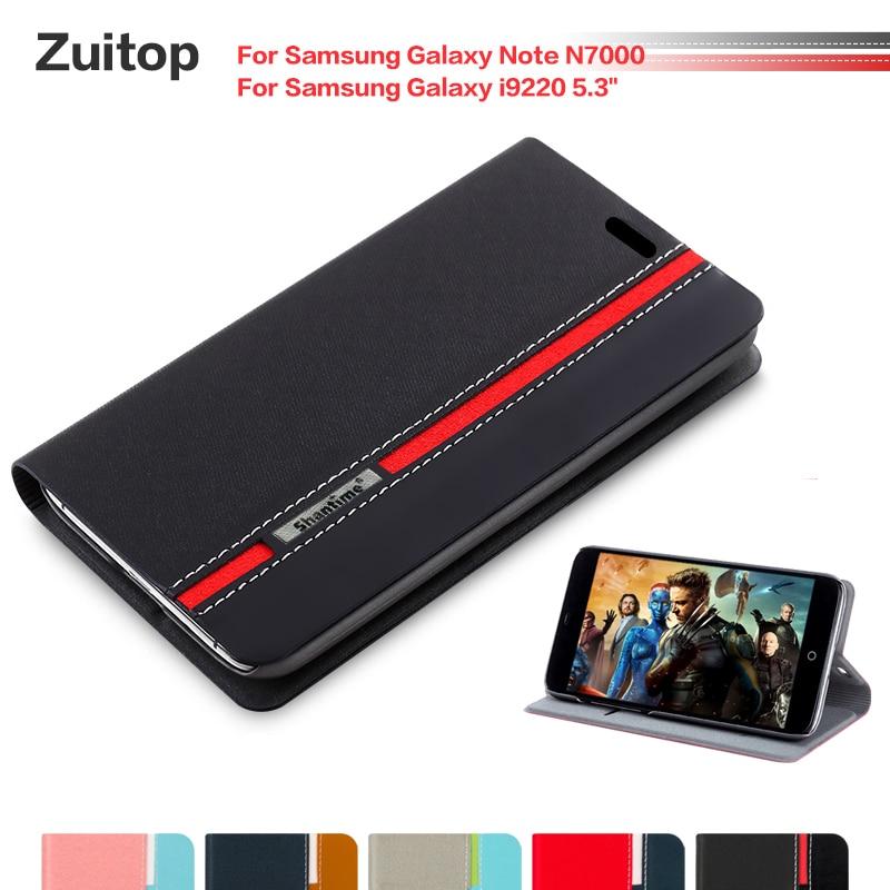 Funda de teléfono de cuero de poliuretano vaquero para Samsung Galaxy Note...