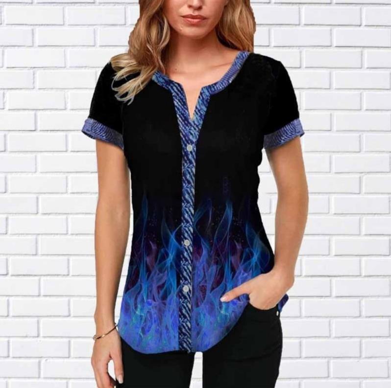 Shirt Blouse Fashion 2020 Grote Size Tops Vrouwen Casual V Hals Shirt Dames Losse Bloemenprint Tuniek Tee Shirt