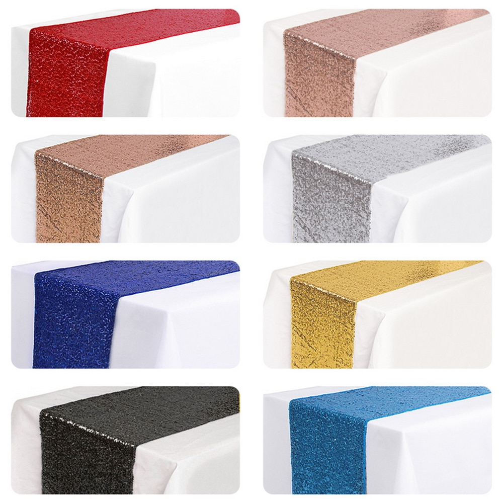 Glitter Sequin Table Runners Table cover Satin Tablecloth For Wedding Party Banquet Home Hotel Table Decoration M/L