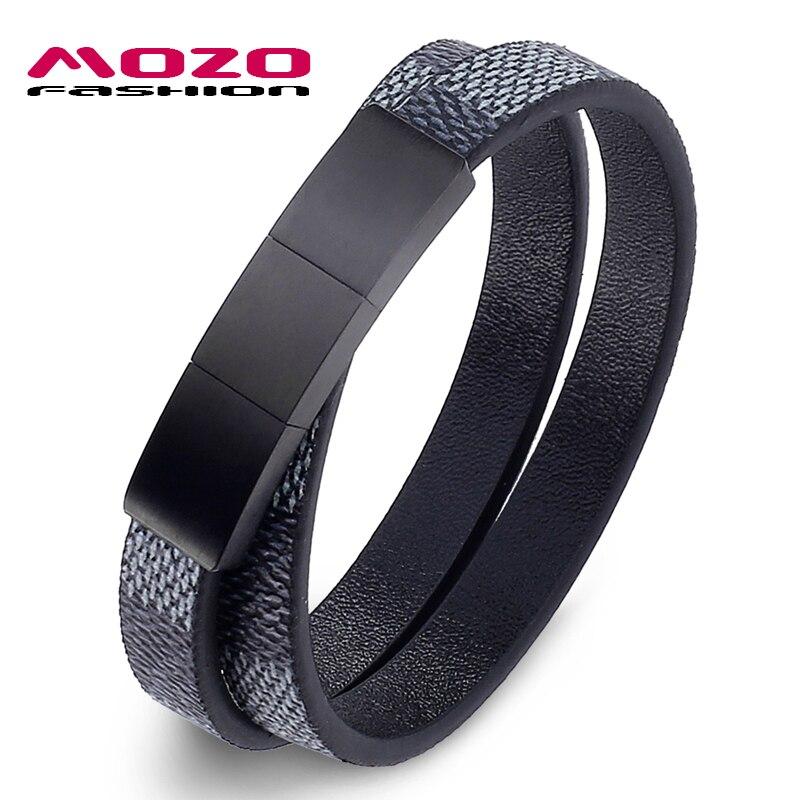 Joyería de moda pulsera de cuero para hombre, pulseras y brazaletes de doble capa, pulsera clásica de acero inoxidable para mujer PS2033