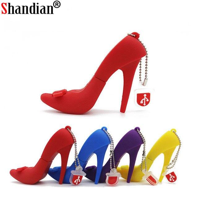 SHANDIAN High-heeled shoes USB Flash Drive Memory U Disk 4GB 8GB 16GB 32G 64GB Gift Pendrive Key Creativo Gift for lady 4 colors