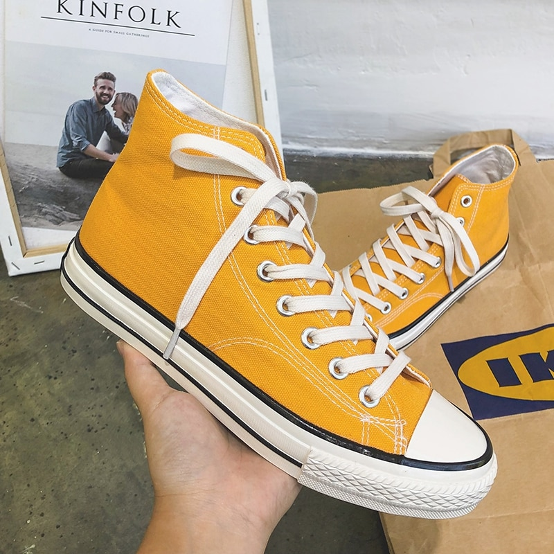 Mens Fashion Yellow Canvas Shoes High Top Designer Couple Comfort Classic Platform Casual New Zapatillas Hombre