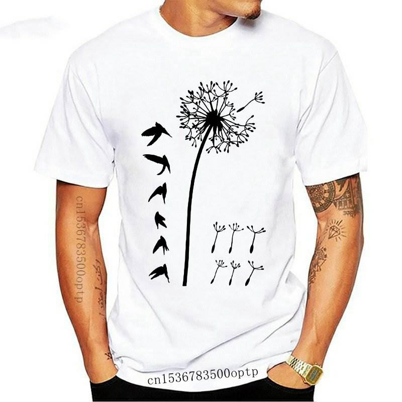 New Summer  Dandelion Free Flying Print Women's O-Neck Short Sleeve Lady T shirt Fashion Casual Aest