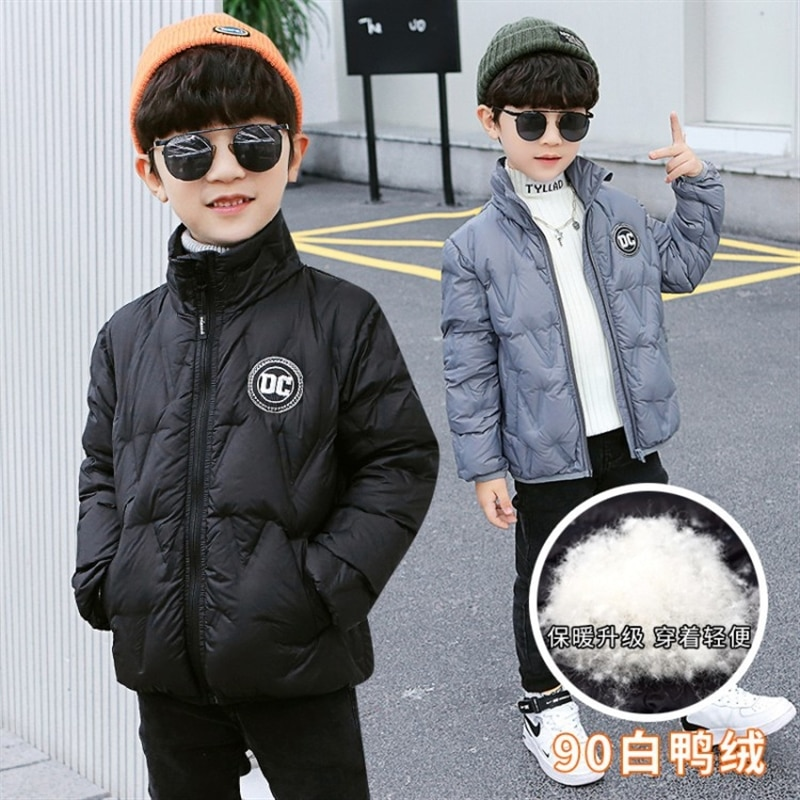 White Duck down 90% boys' down jacket Medium and large children's thin autumn and winter children's top boy jacket enlarge
