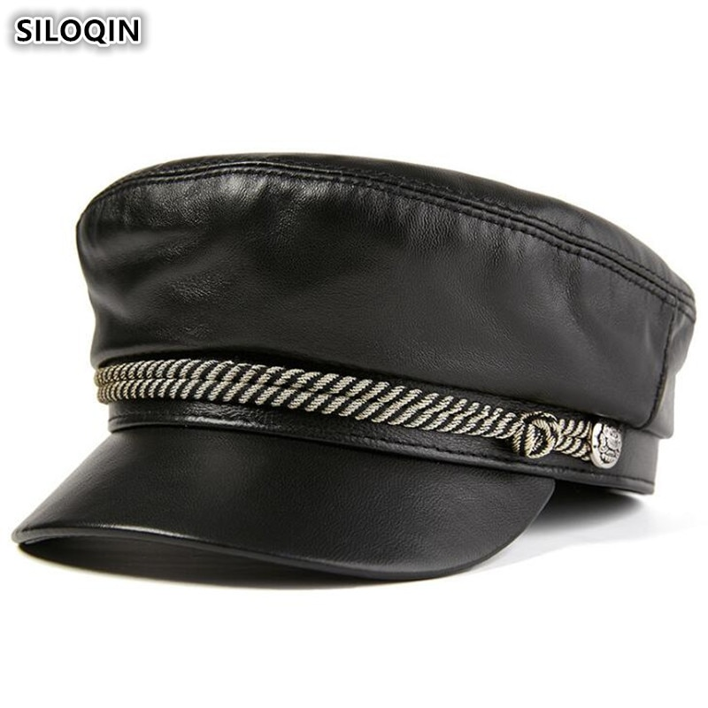 SILOQIN حقيقية قبعة من الجلد المرأة قبعات مسطحة الجيش قبعة عسكرية أنيقة سيدة قبعة المرأة البريطانية خمر جلد الغنم القبعات