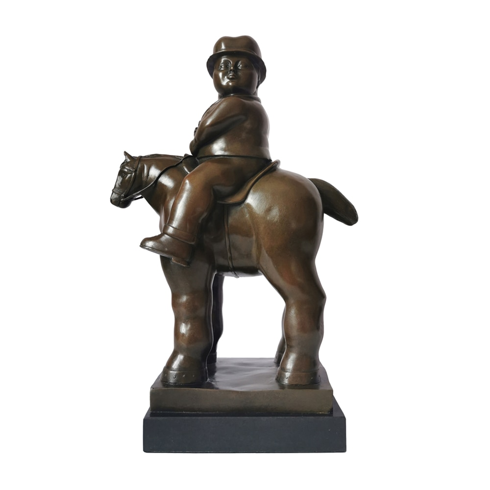 Escultura abstracta de bronce famoso caballero gordo montando caballo escultura de bronce y figurita arte antiguo clásico regalos de cumpleaños