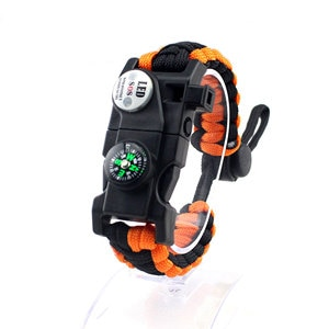 Outdoor Multifunctional Survival Bracelet, Adjustable Length Emergency for Hiking Camping Hunting Activities
