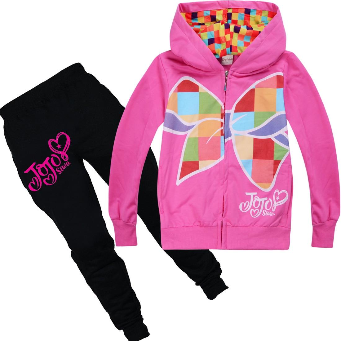 Conjuntos de pantalones y chaqueta con dibujos animados de primavera y otoño, camiseta con capucha y estampado de JOJO siwa, Tops de algodón, camiseta para niñas, ropa para niños 4-12Y