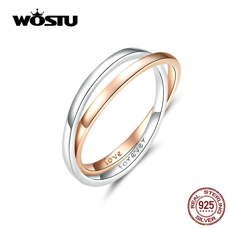 ¡Nuevo diseño 2019! Anillos dobles de moda novedosa, anillos de plata de ley 100%, amor para siempre, regalo para amantes CTR053