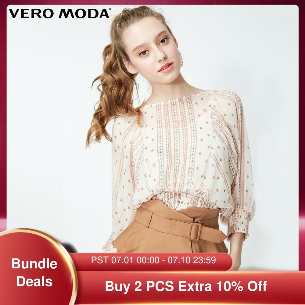 Vero Moda mujer estampa nacional Cintura elastizada 3/4 mangas blusa Camisa de gasa   319158516