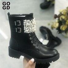 [GOGD] Winter Frauen Perle Flache Zipper Stiefeletten Perle Runde Kappe mit Dekoration