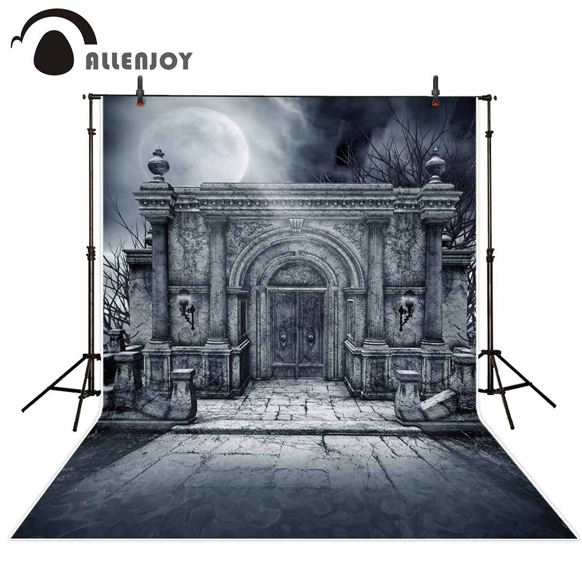 Allenjoy Halloween Party Supplies Ancient building night moon Photographic backdrop banner festival photo background photophone