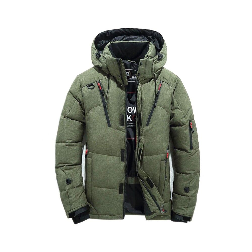 Chaqueta de invierno 2019 para hombre, abrigo grueso térmico de calidad, Parka negra, roja, Nieves, para hombre, prendas de vestir calientes, chaqueta de plumón de pato blanco, para hombre