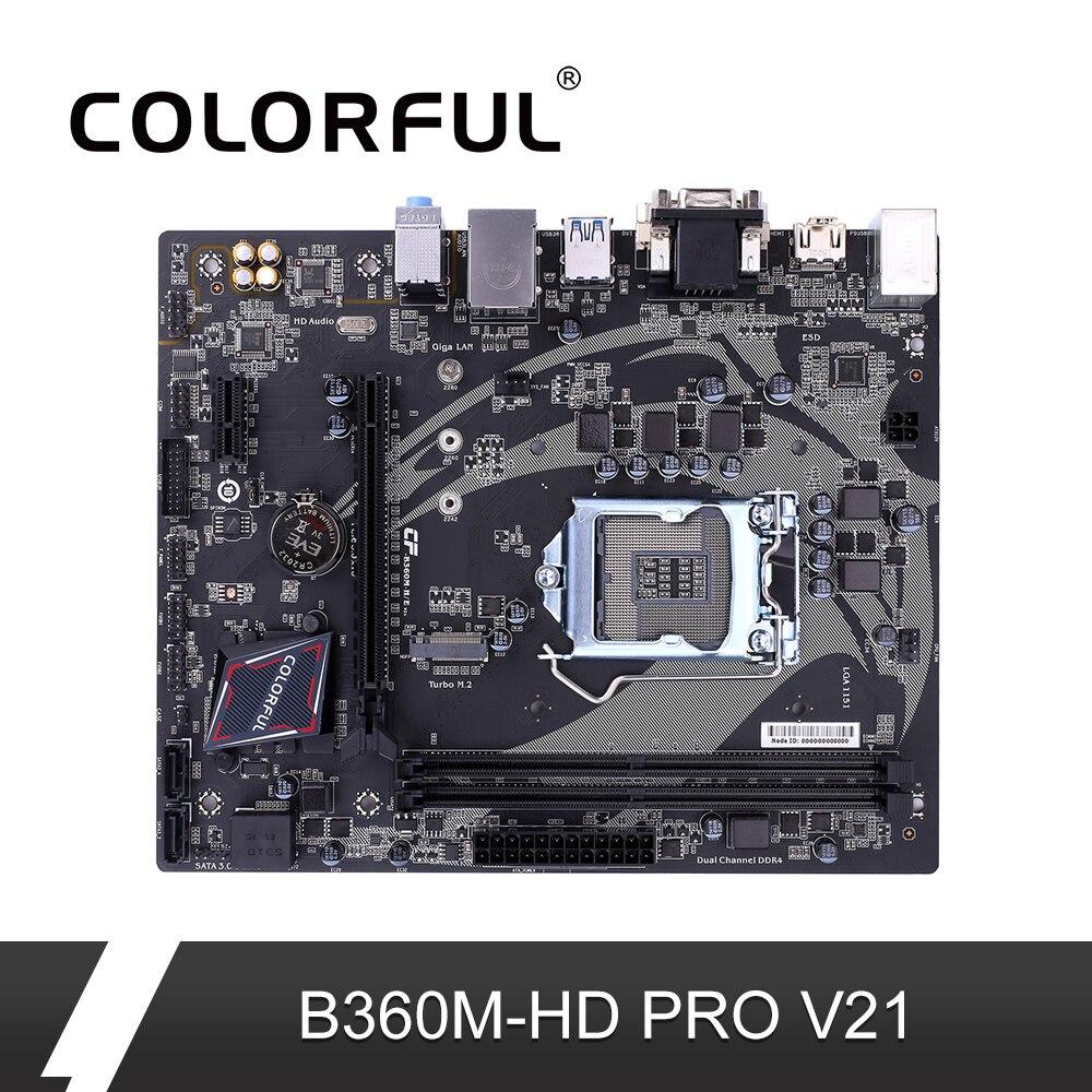 Цветная материнская плата batch-Ax B360M-HD PRO V21 Intel B360 DDR4 материнская плата LGA1151 coffee Lake-S конвертер-Переходник VGA DVI HDMI SATA3.0