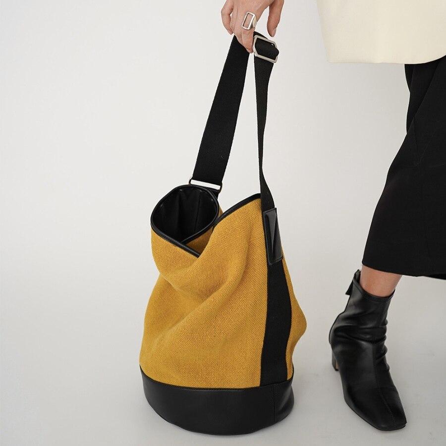 Vintage Large Capacity Canvas Women Shoulder Bag Hand Bucket Bag Designer Crossbody Bag Women's Casu
