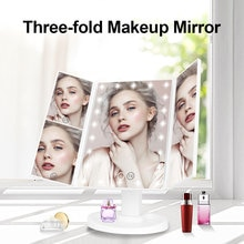 Make up mirror with 22 LED light magnifier Desktop fill light mirror3 Folding Vanity Mirror 180 Rota