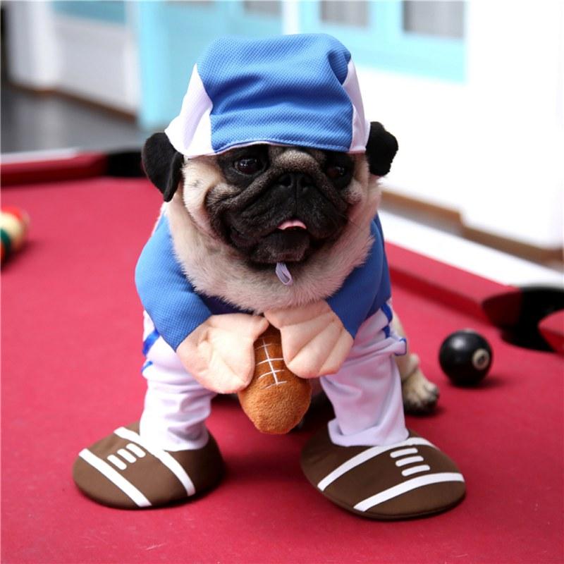 Uniformes de béisbol con ropa de Halloween de poliéster para mascotas, traje vertical divertido, disfraz vertical para gatos y perros