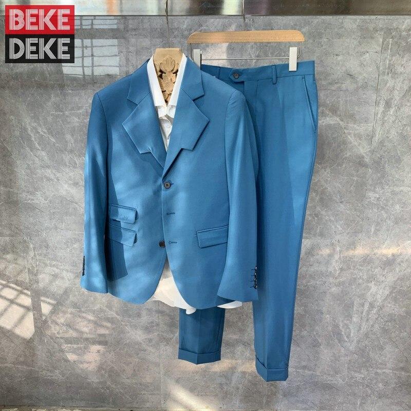 Fashion Design Mens Wedding Groom Suits Sets Brand Luxury Party Business Formal Dress Blazer Coat Su