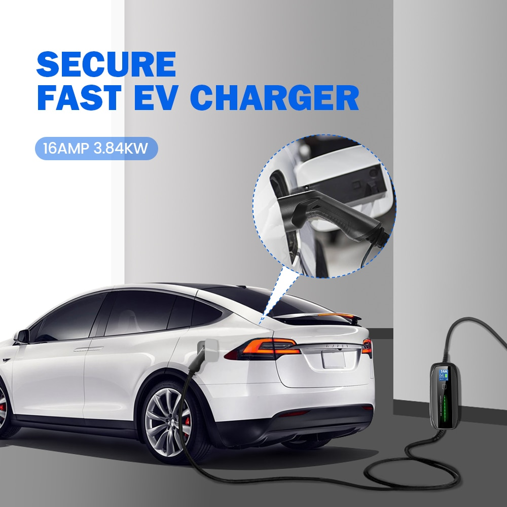 EVSE Type 2 Portable EV Charging Box Cable Switchable 10/16A Schuko Plug Electric Vehicle Car Charger IEC 62196-2 2.2/3.6KW enlarge