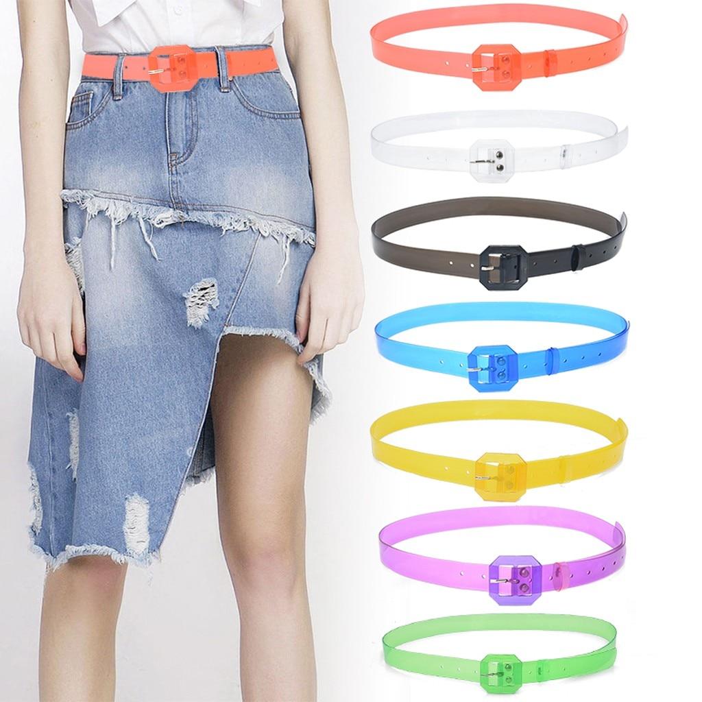 Belts for Women Men Ladies Waist Body Wide Clear Heart Shape Belts ремень Transparent Candy Color cinturon mujer Accessories