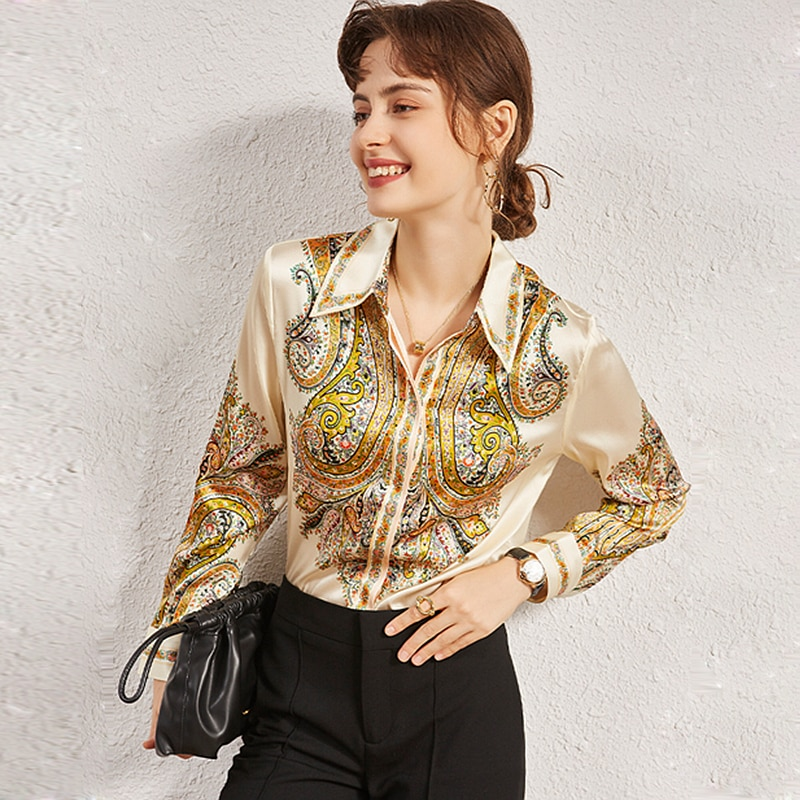 100% Silk Blouse Women Shirt Casual Style Fixed Printed Vintage Turn-down Neck Long Sleeves Elegant Blouses New Fashion