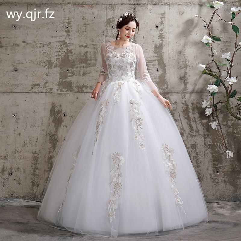 XXN-115 # العروس فستان الزفاف الدانتيل طويل كم ضمادة المطرزة الدانتيل على صافي الكرة ثوب الدانتيل يصل س الرقبة رخيصة الجملة فتاة الصين