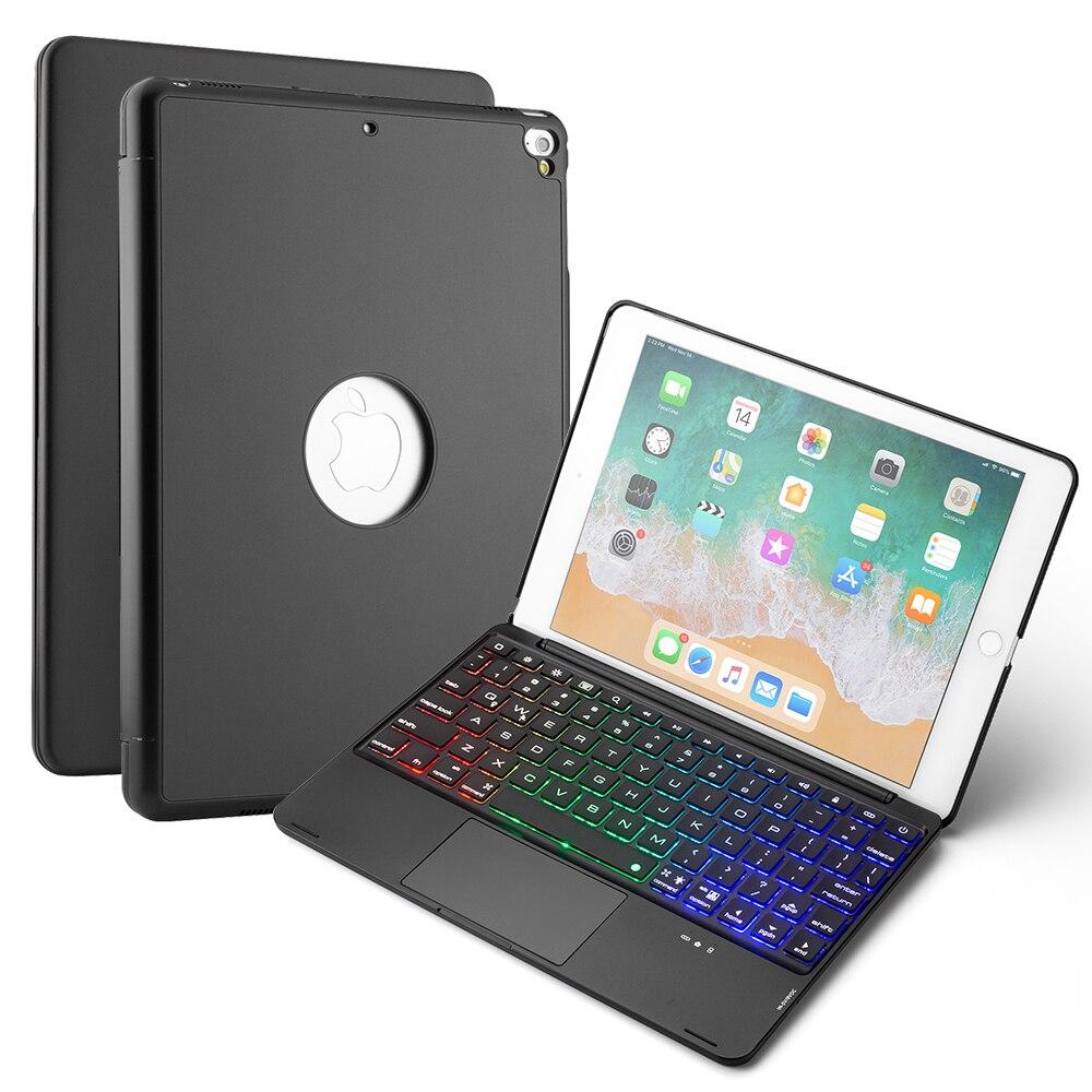 Для iPad 9,7 2018 2017/ iPad Pro 9,7/iPad Air 1 2 Bluetooth USA клавиатура с трекпадом 7 цветов с подсветкой планшет клавиатура чехол
