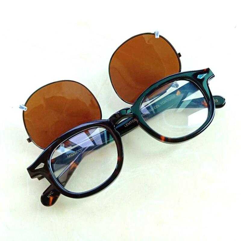 Johnny Depp gafas de sol Clip polarizado marca de lentes Vintage gafas acetato Marco de las mujeres de los hombres Drivering gafas de sol de alta calidad