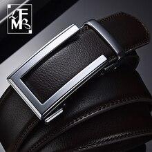 LFMB-Cinturón de cuero de vaca genuino para hombre, cinturón de cuero vacuno para hombre, cinturones con hebilla automática de trinquete